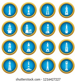 Lighthouse icons set. Simple illustration of 16 lighthouse icons for web