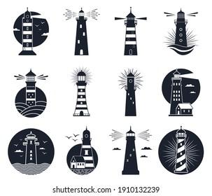 Lighthouse labels. Vintage beacon building emblems, marine navigation lighthouse silhouettes. Beacon towers labels  illustration set. Lighthouse safety emblem, silhouette monochrome tower