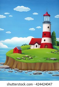 Lighthouse landscape. Oil painting with red lighthouse and a small house on an island surrounded by the sea.