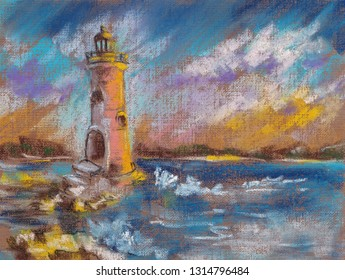 Lighthouse Night Stock Illustrations, Images & Vectors