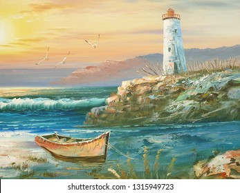 lighthouse oil painting on a canvas