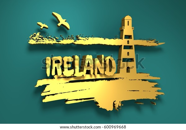 Lighthouse on brush stroke seashore. Clouds line with birds. 3D rendering. Ireland text. Metallic material