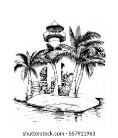 island surrounded by water images stock photos vectors shutterstock Nusa Penida Island Homes lighthouse on an island surrounded by palm trees black and white illustration