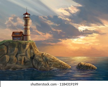 Lighthouse on a rocky coastal cliff at sunset. Digital painting.