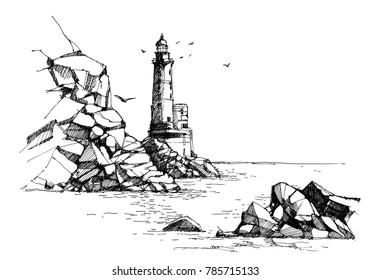 Lighthouse pen sketch