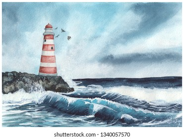 Lighthouse and the raging sea. Watercolor hand painted illustration