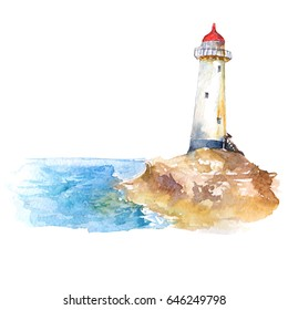 Lighthouse and seascape watercolor illustration