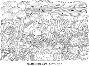 Lighthouse and shells, seascape. Coloring book page for adult. A4 size. Waves, sea, art background. Pattern for coloring book. Hand-drawn, doodle, zentangle, tribal design elements