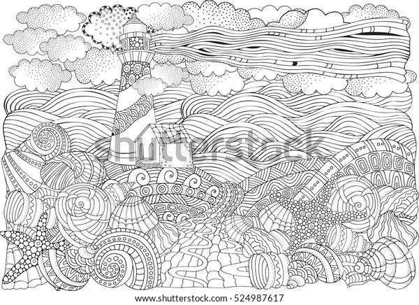 Deniz Feneri Ve Deniz Kabuklari Deniz Stok Illustrasyon 524987617