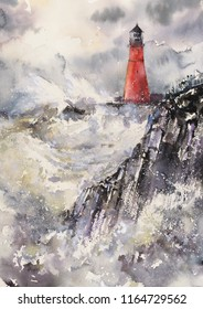 Lighthouse In Stormy Landscape.Picture created with watercolors