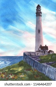 Lighthouse watercolor painting. Great for post cards, home decoration, posters and etc. Hand drawn