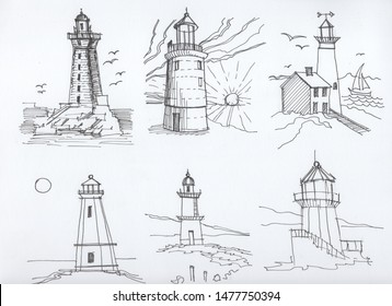Lighthouses sea 6 sketches in the schedule