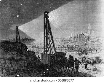 Lighting a building site with the electric light, vintage engraved illustration. Industrial encyclopedia E.-O. Lami - 1875.