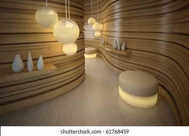 Lighting pouffe in modern room. Design interior