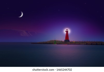 A lighting red lighthouse by the sea at night with mountains, moon and stars in the sky