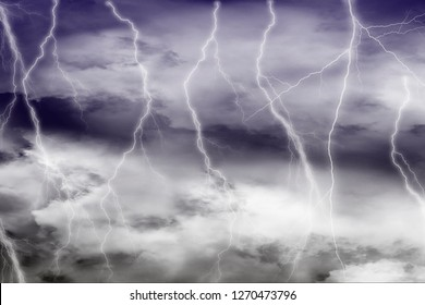 Lightning among the dark clouds texture background