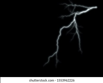 Lightning: lightning bolt, isolated against black ground - good copy space