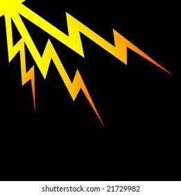 Lightning Bolts over black background