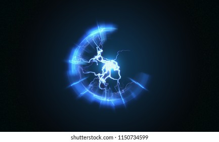 Lightning and bright light in energy ball with spherical plasma radiating electric rays. 3D rendered illustration.