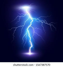 Lightning flash bolt or thunderbolt. Blue lightning or magic power blast storm. illustration