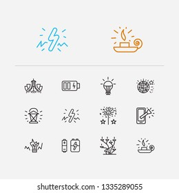 Lightning icons set. Led bulb and lightning icons with candelabrum, lantern, disco ball. Set of tech for web app logo UI design.