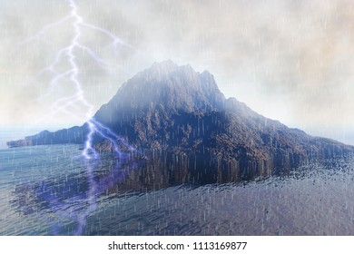 Lightning over the island, 3d rendering, a tropical landscape, rain and clouds in the sky.