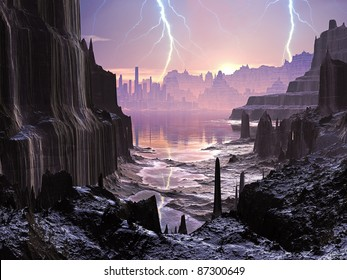Lightning Storm over Alien Glowing City