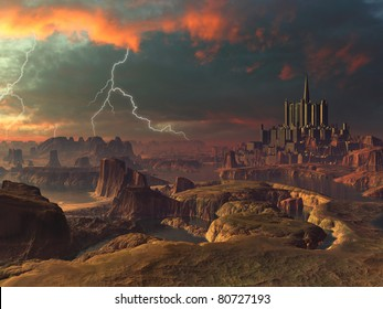 Lightning Storm over Ancient Alien City Landscape
