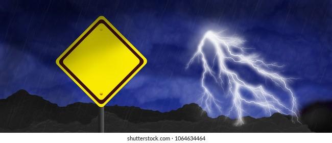 Lightning Storm Scene - Blank Warning Sign