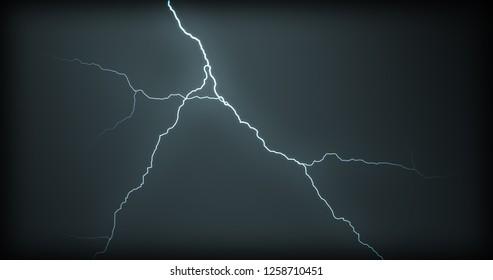 Lightning strikes on a black background