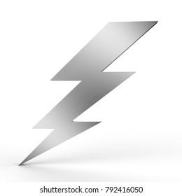 Lightning symbol on isolated white background, 3d illustration