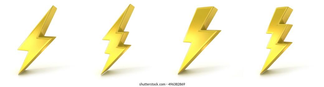 Lightning symbols, 3D golden signs. Render illustration isolated on white background