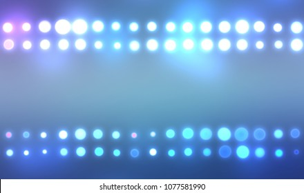 Lights background. Abstract glamorous fashion backdrop. Digital illustration of stage or stadium spotlights. Glowing wallpaper.