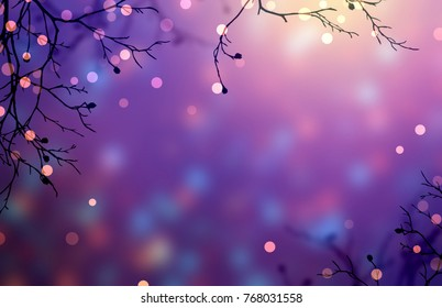 Lights garland on branches. Empty glare purple background. Magic forest. Festive natural backdrop. Golden bokeh on tree. Christmas decoration. New Year trend.