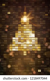Lights inside skyscraper windows building a Christmas tree Illustration