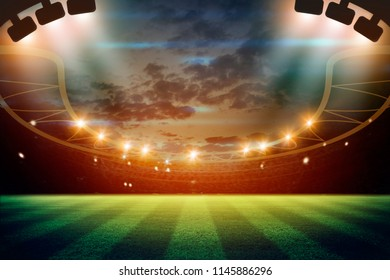 lights at night and football stadium 3d rendering. Mixed photos