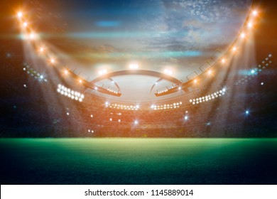 lights at night and stadium 3d render