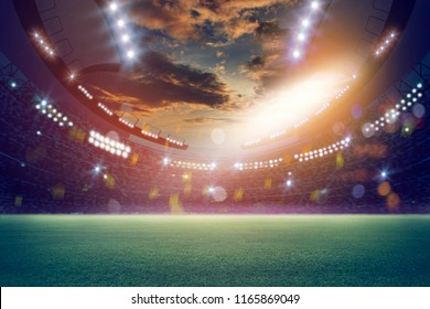 lights at night and stadium 3d render. Mixed photos