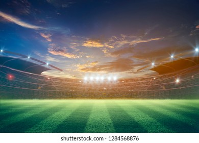 lights at night and stadium 3D rendering.