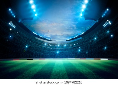 lights at night and stadium. Mixed photos, 3d rendering