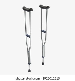 Lightweight underarm crutches 3D rendering isolated on white background