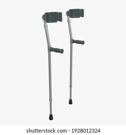 Lightweight walking forearm crutches 3D rendering isolated on white background