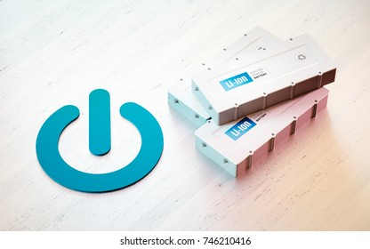 Li-Ion electric vehicle battery start concept. Start button symbol with EV batteries on wooden desk. 3d rendering.
