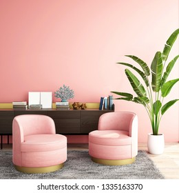 Liivng coral,color of the year 2019,interior design for living area or reception on wood floor and coral background / 3d illustration,3d rendering