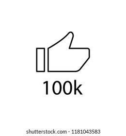 like 100k icon. Element of online and web for mobile concept and web apps icon. Thin line icon for website design and development, app development. Premium icon on white background