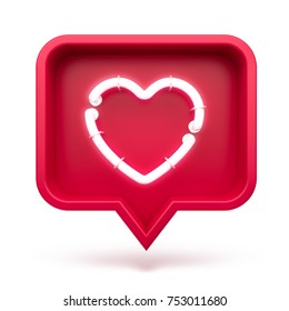 Like heart icon on a red pin isolated on white background. Neon Like symbol. 3d render