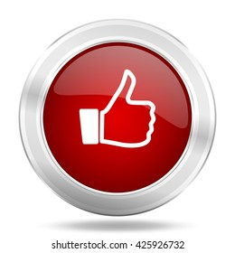 like icon, red round metallic glossy button, web and mobile app design illustration