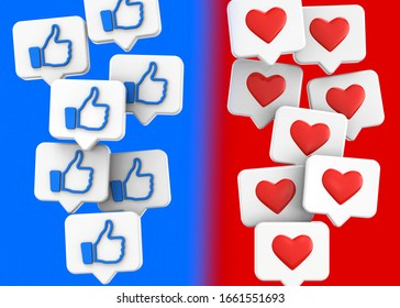 Like and Love icons - 3D