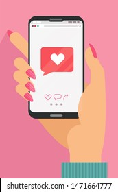 Like mobile mobile concept. Female hand holding smartphone with heart emoji message on screen, like button. Love confession, like. Social network and mobile device. Flat cartoon illustration..