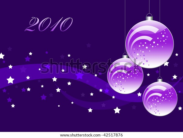 Lilac card for the holiday with ball  and ribbons